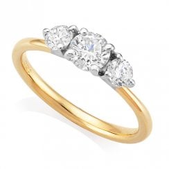 18ct Yellow Gold 0.88ct Three Stone Diamond Ring