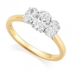 18ct Yellow Gold 1.10ct Three Stone Diamond Ring GIA E/SI1/2