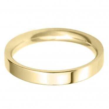 18ct. Yellow Gold 3.0mm Flat Court Profile Wedding Ring