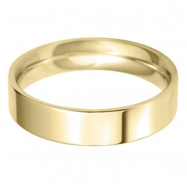 18ct Yellow Gold 5.0mm Flat Court Profile Wedding Ring