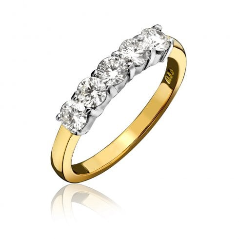 18ct Yellow Gold And Diamond Claw Set Half Eternity Ring