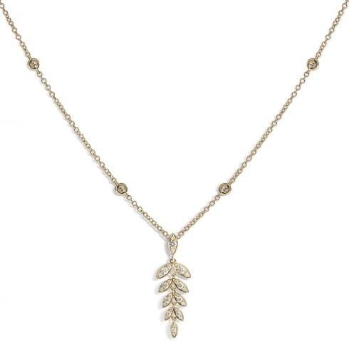 18ct Yellow Gold Diamond Barleycorn Pendant