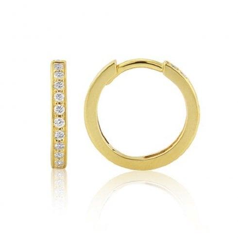 18ct Yellow Gold Diamond Hoop Earrings