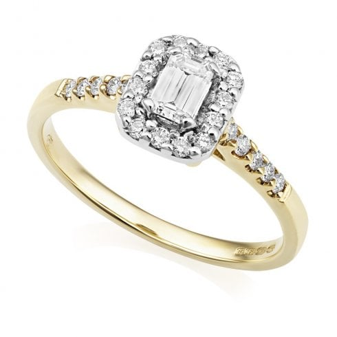 18ct Yellow Gold Emerald Cut Halo Cluster Ring