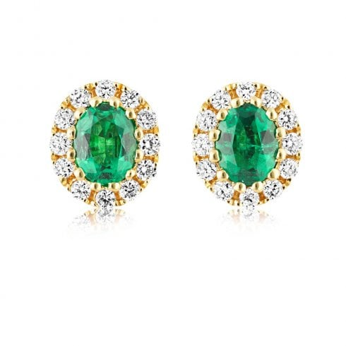 18ct Yellow Gold Emerald & Diamond Cluster Earrings