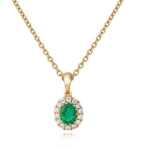 18ct Yellow Gold Emerald & Diamond Cluster Pendant