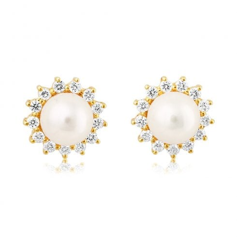 18ct Yellow Gold Pearl & Diamond Cluster Earrings