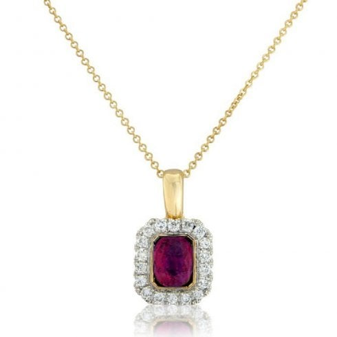 18ct Yellow Gold Ruby & Diamond Cluster Pendant