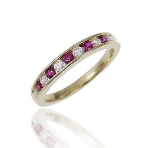 18ct Yellow Gold Ruby & Diamond Half Eternity Ring