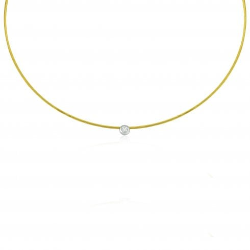 18ct Yellow Gold Solitaire Diamond Necklet