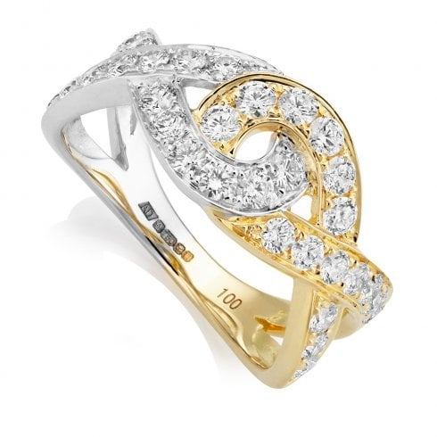 18ct Yellow & White Gold Diamond Knot Ring