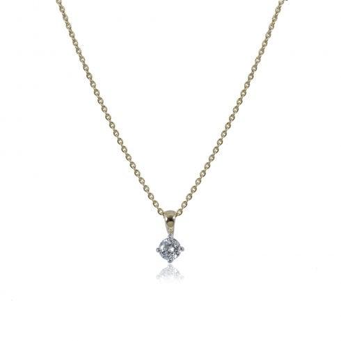 18ct Yellow & White Gold Diamond Solitaire Pendant