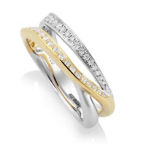 18ct Yellow & White Gold Two Row Diamond Ring