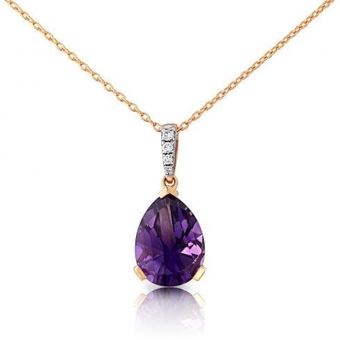 9ct Rose Gold Amethyst & Diamond Drop Pendant