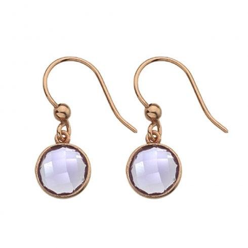 9ct Rose Gold Amethyst Hook Earrings