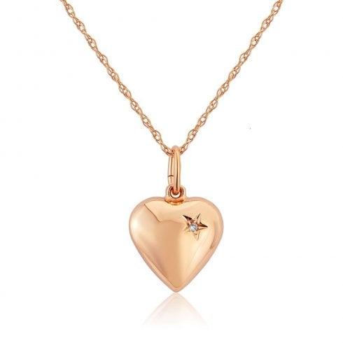 9ct Rose Gold Diamond Set Heart Pendant