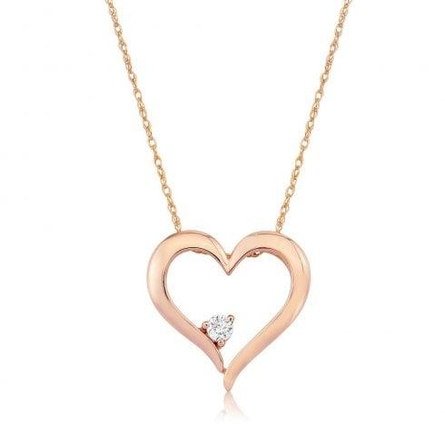 9ct Rose Gold Diamond Set Open Heart Pendant