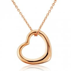 9ct Rose Gold Floating Heart Pendant Small