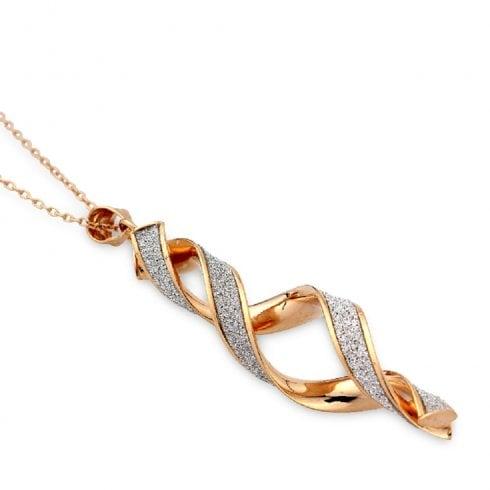 9ct Rose Gold Glitter Twist Pendant