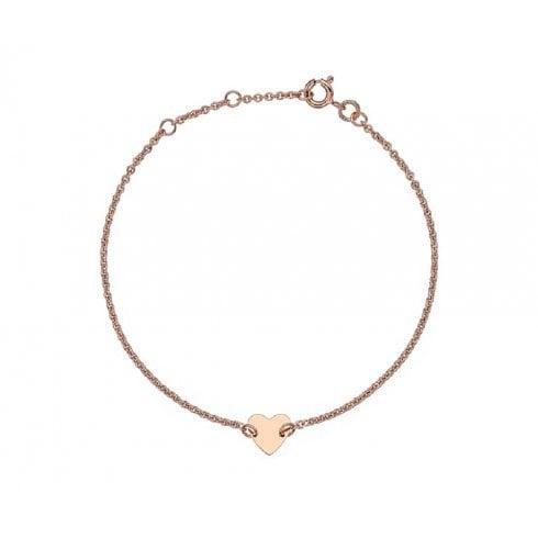 9ct Rose Gold Heart Charm Bracelet