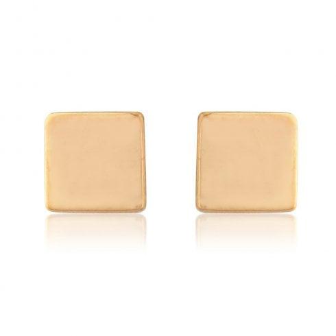 9ct Rose Gold Medium Cube Stud Earring