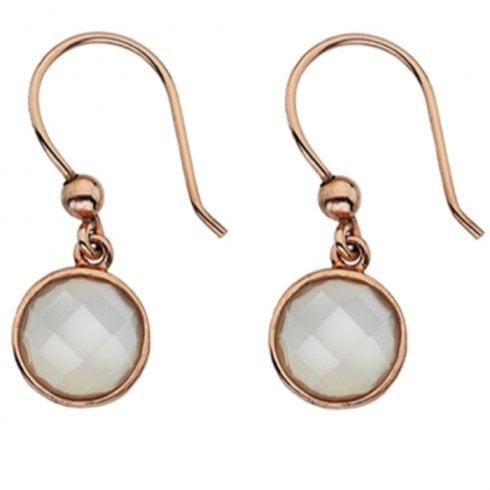 9ct Rose Gold Moonstone Hook Earrings