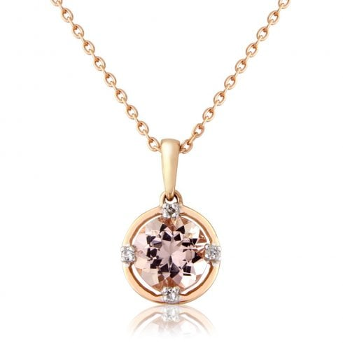 9ct. Rose Gold Morganite & Diamond Pendant