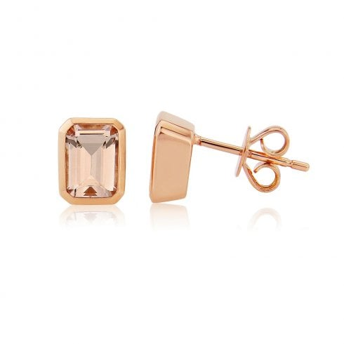 9ct Rose Gold Morganite Earrings