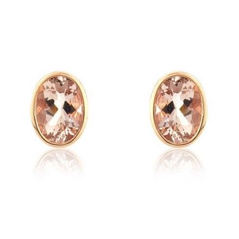 9ct Rose Gold Oval Morganite Stud Earrings