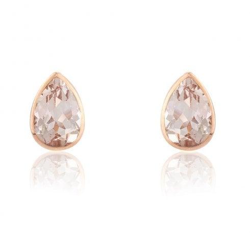 9ct Rose Gold Pear Shaped Morganite Stud Earrings