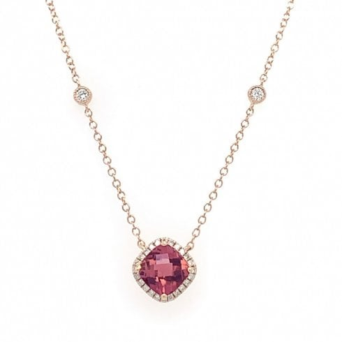 9ct Rose Gold Pink Tourmaline & Diamond Necklet