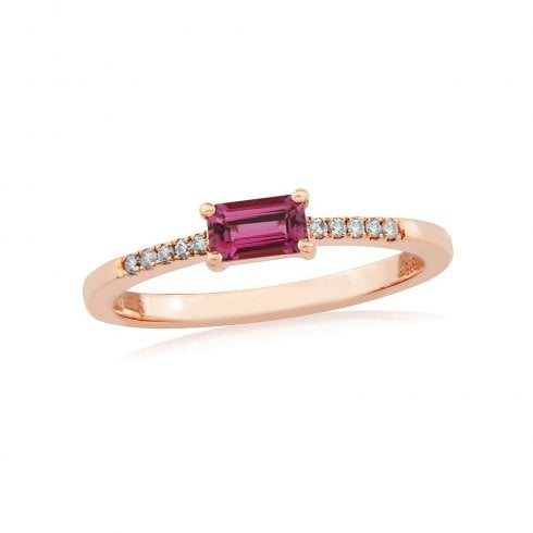 9ct Rose Gold Pink Tourmaline & Diamond Ring