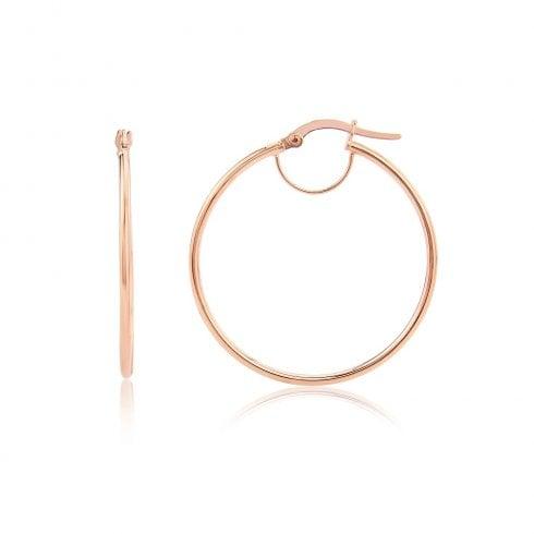9ct Rose Gold Round 34mm Hoop Earrings