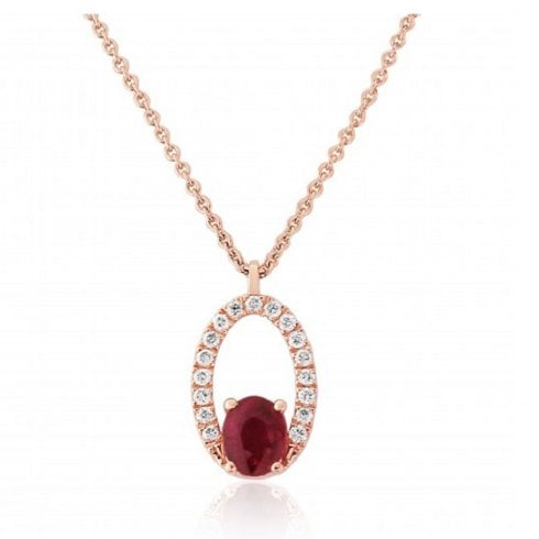 9ct Rose Gold Ruby & Diamond Oval Pendant