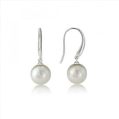 9ct White Gold 8mm Cultured Pearl Drop Earrings