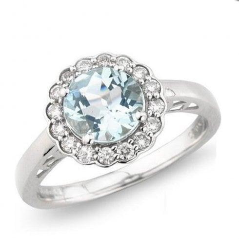 9ct White Gold Aquamarine And Diamond Cluster Ring