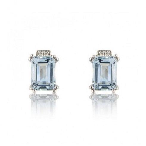 2b712f08c8131 9ct White Gold Aquamarine & Diamond Stud Earrings