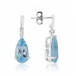 9ct White Gold Blue Topaz & Diamond Earrings