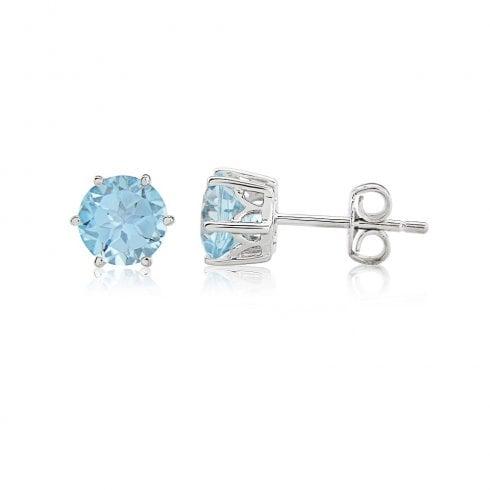 9ct White Gold Blue Topaz Stud Earrings