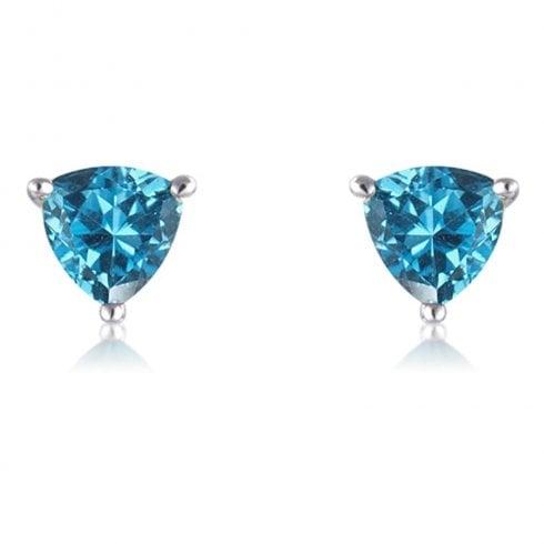 9ct White Gold Blue Topaz Trillion Cut Stud Earrings
