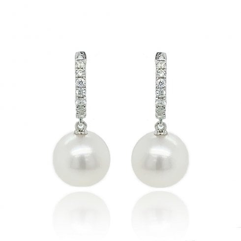 9ct White Gold Diamond Pearl Earrings