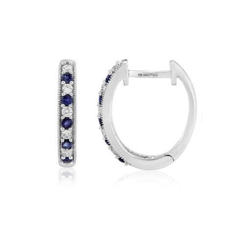 9ct White Gold Diamond & Sapphire Hoop Earrings