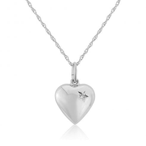 9ct White Gold Diamond Set Heart Pendant