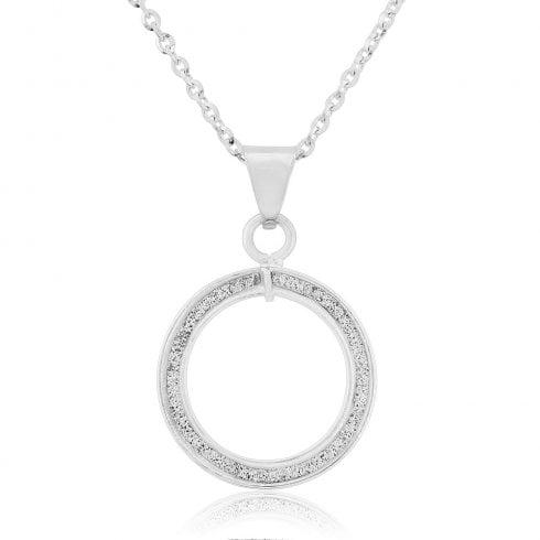 9ct White Gold Glitter Finish Circle Pendant