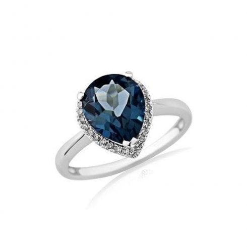9ct White Gold London Blue Topaz & Diamond Cluster Ring