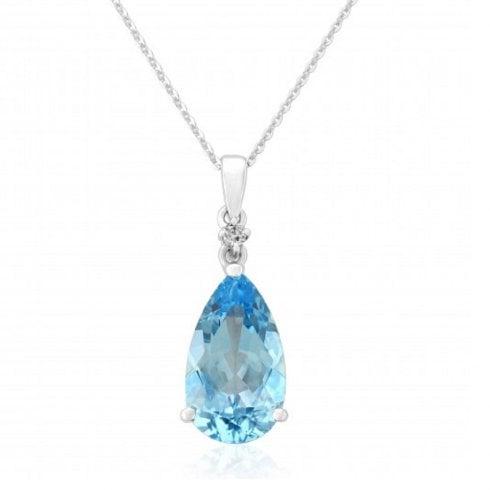9ct White Gold Pear Shaped Blue Topaz & Diamond Pendant