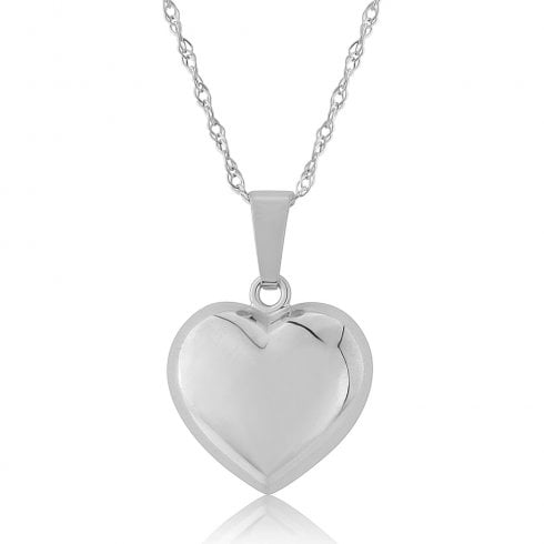 9ct White Gold Puffed Heart Pendant