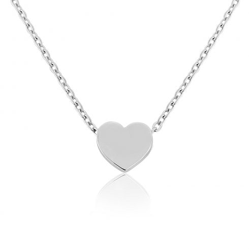 9ct White Gold Small Heart Charm Pendant