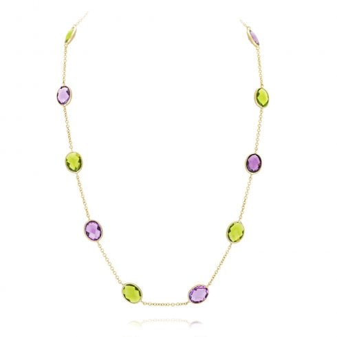 9ct Yellow Gold Amethyst & Peridot Necklet