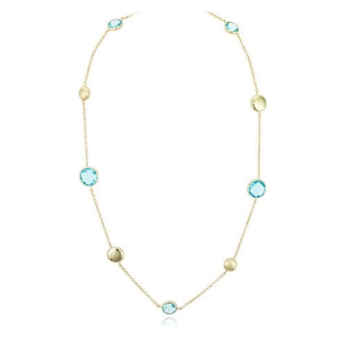 9ct Yellow Gold Blue Topaz Bead Chain Necklet